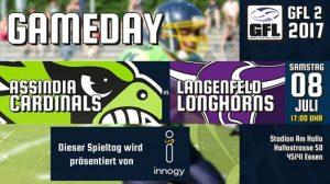 Assindia Cardinals treffen auf die Langenfeld Longhorns - 8.7.2017