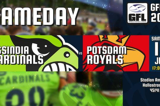 Assindia Cardinals gegen die Potsdam Royals am 15.7.2017 um 17 Uhr