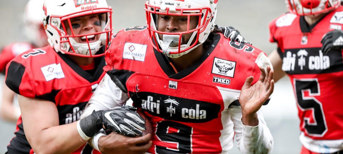 Die Stuttgart Scorpions gewinnen ihr erstes Saisonspiel 2019 gegen die Marburg Mercenaries (Foto: Sarah Philipp)