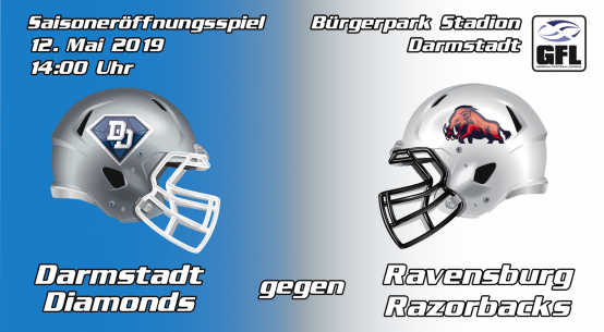 Banner Darmstadt Diamonds gegen Ravensburg Razorbacks GFL2