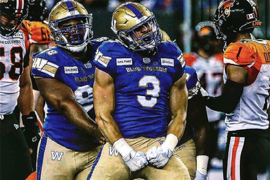 Thiadric Hansen auf dem Feld für die Winnipeg Blue Bombers
